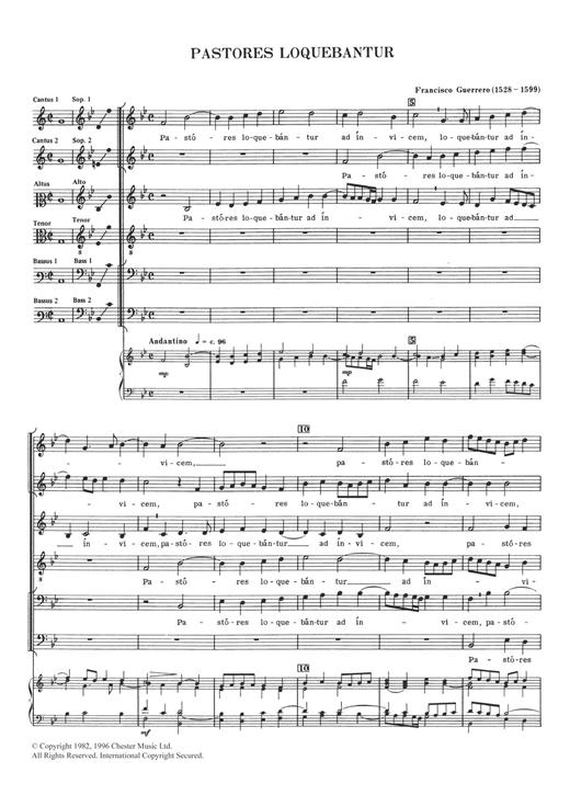 Francisco Guerrero Pastores Loquebantur sheet music notes and chords. Download Printable PDF.