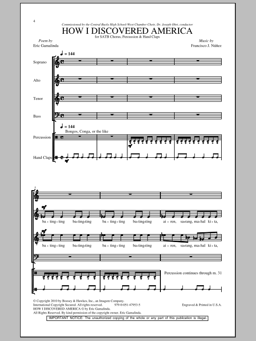 Francisco J. Nunez How I Discovered America sheet music notes and chords. Download Printable PDF.