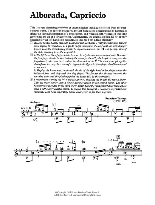 Francisco Tarrega Alborada, Capriccio sheet music notes and chords