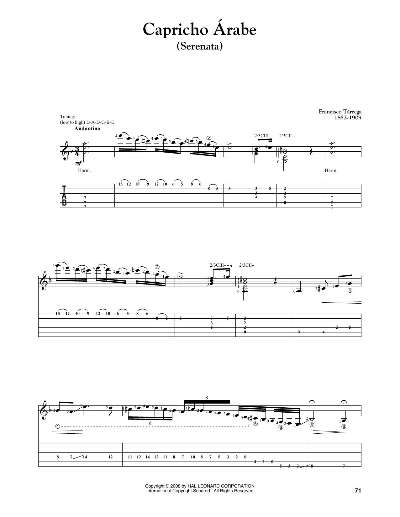 Francisco Tarrega Capricho Arabe (Serenata) sheet music notes and chords