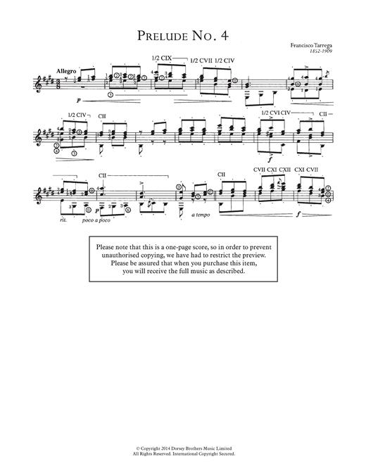 Francisco Tarrega Prelude No.4 sheet music notes and chords. Download Printable PDF.