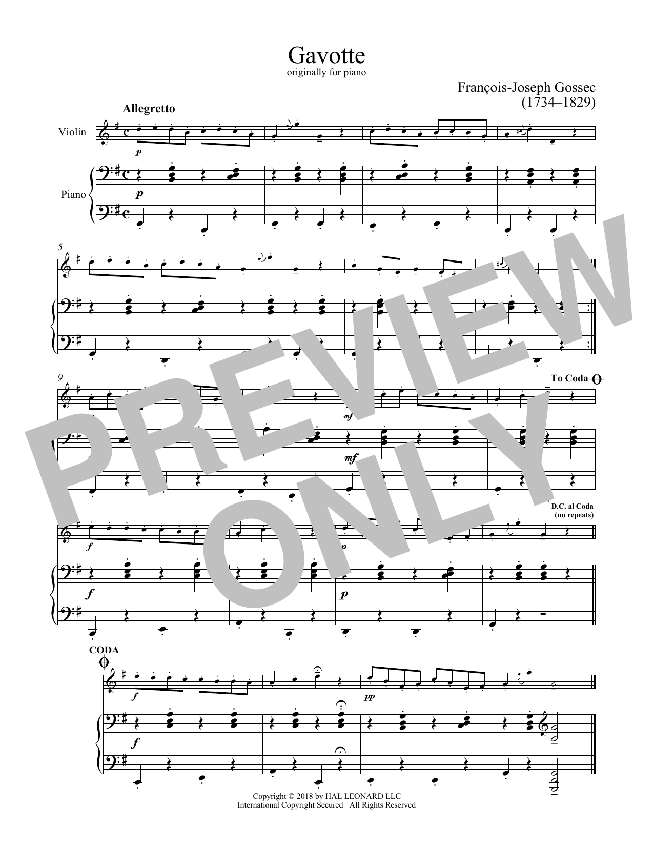 Francois-Joseph Gossec Gavotte sheet music notes and chords. Download Printable PDF.