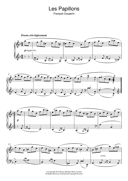 Francois Couperin Les Papillons sheet music notes and chords. Download Printable PDF.