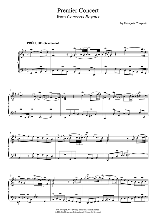 Francois Couperin Premier Concert (Concerts Royaux) sheet music notes and chords. Download Printable PDF.