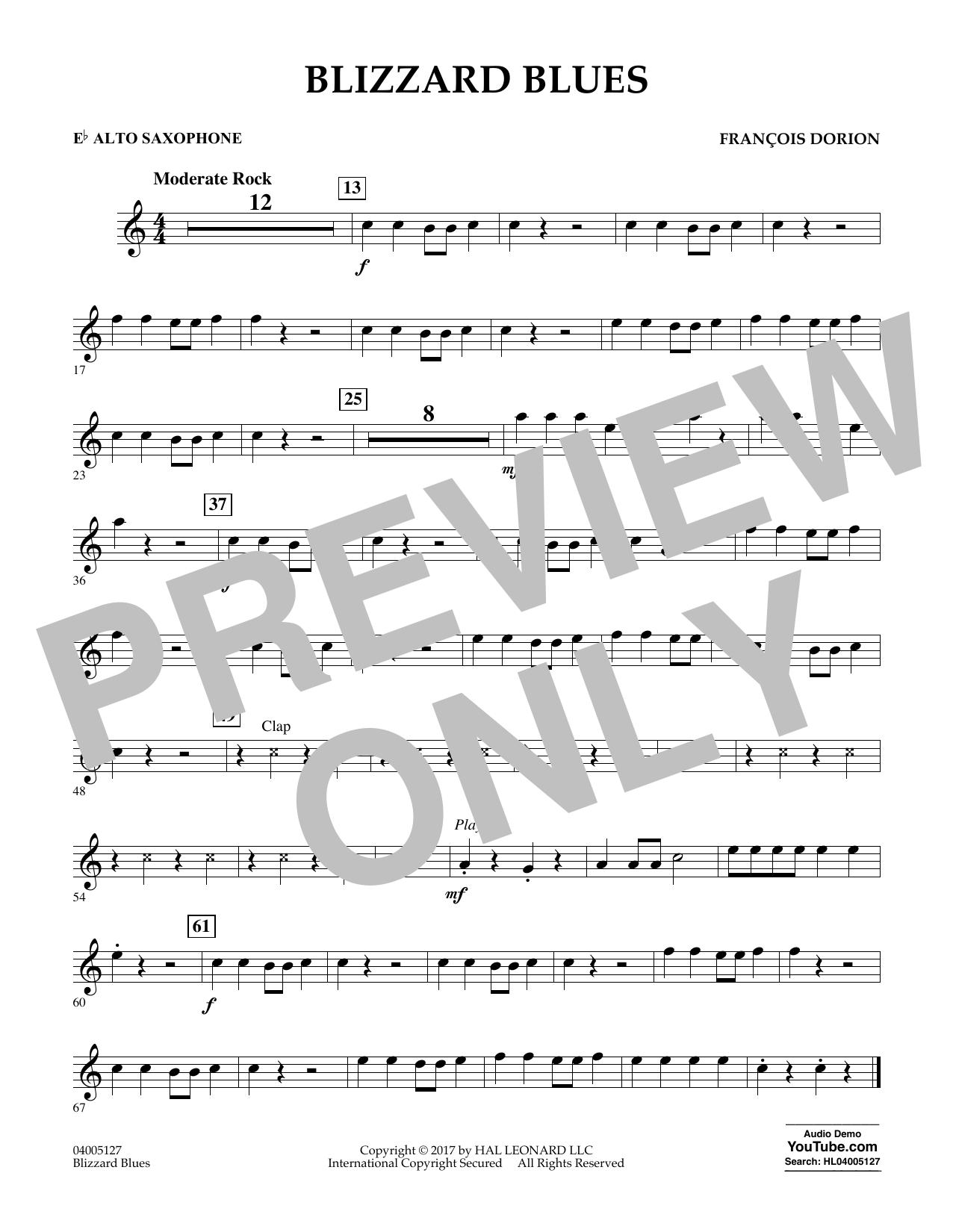 Francois Dorion Blizzard Blues - Eb Alto Saxophone sheet music notes and chords. Download Printable PDF.