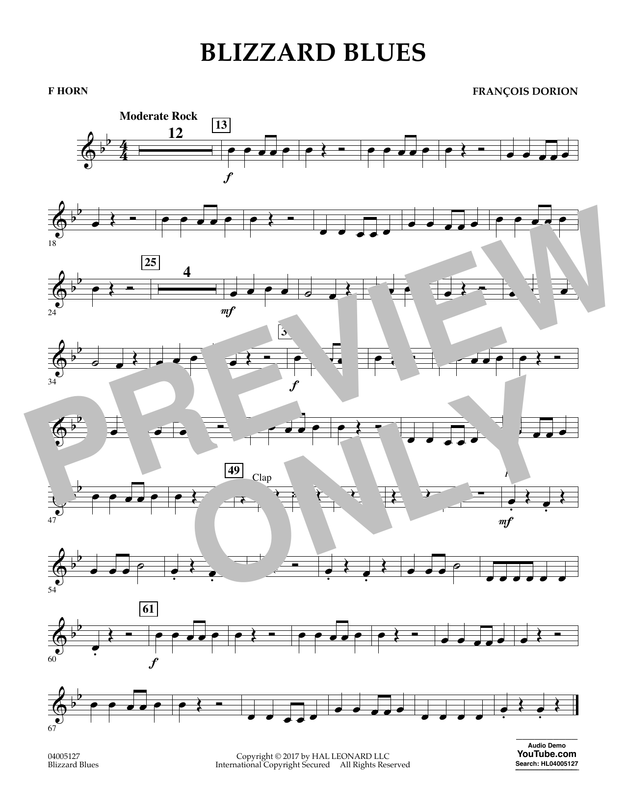 Francois Dorion Blizzard Blues - F Horn sheet music notes and chords. Download Printable PDF.