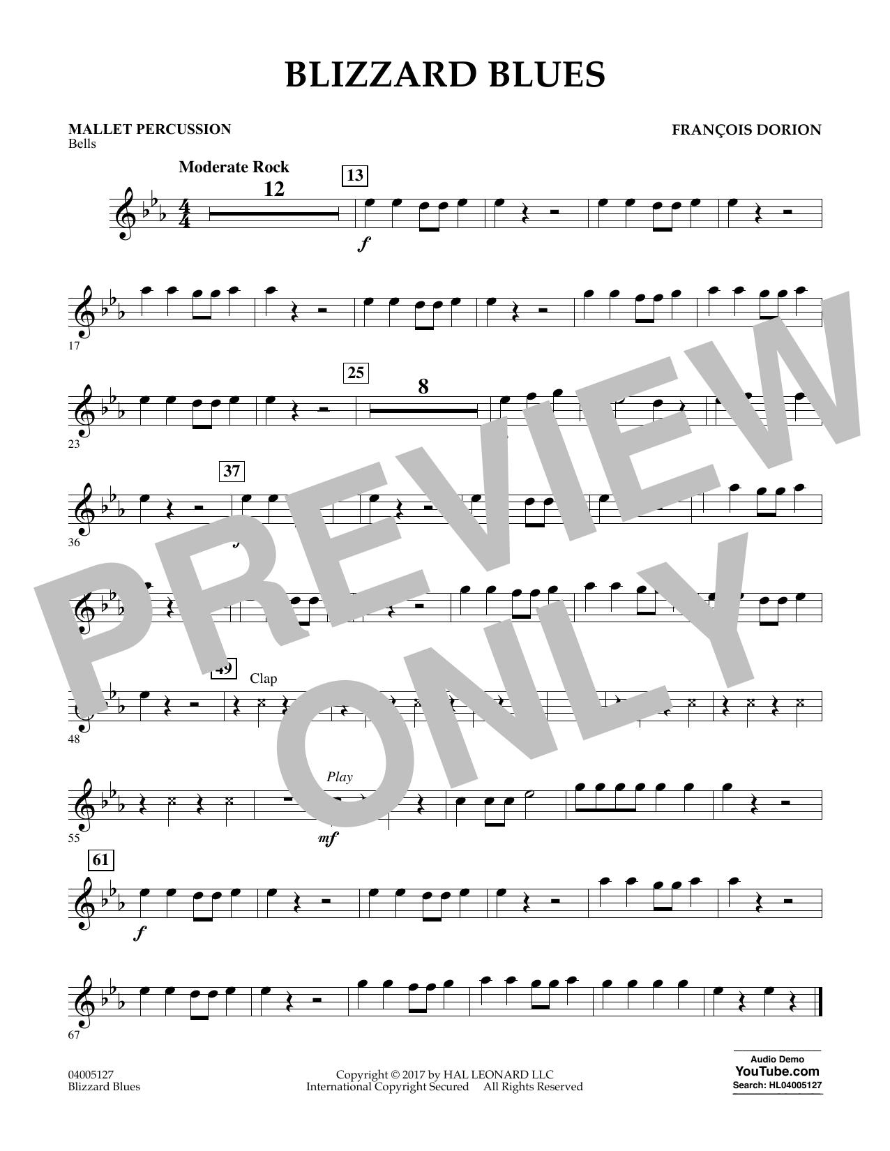 Francois Dorion Blizzard Blues - Mallet Percussion sheet music notes and chords. Download Printable PDF.
