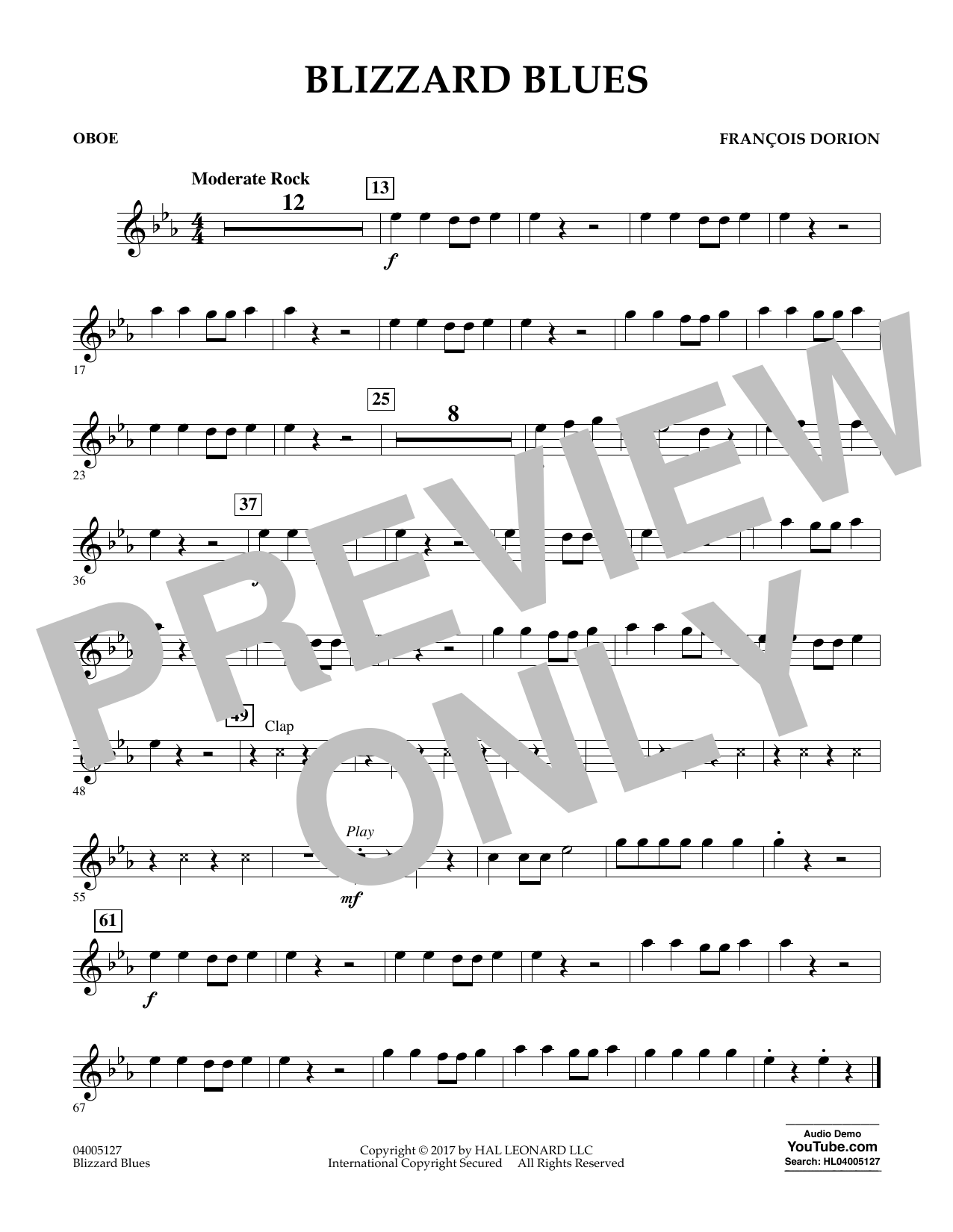 Francois Dorion Blizzard Blues - Oboe sheet music notes and chords. Download Printable PDF.