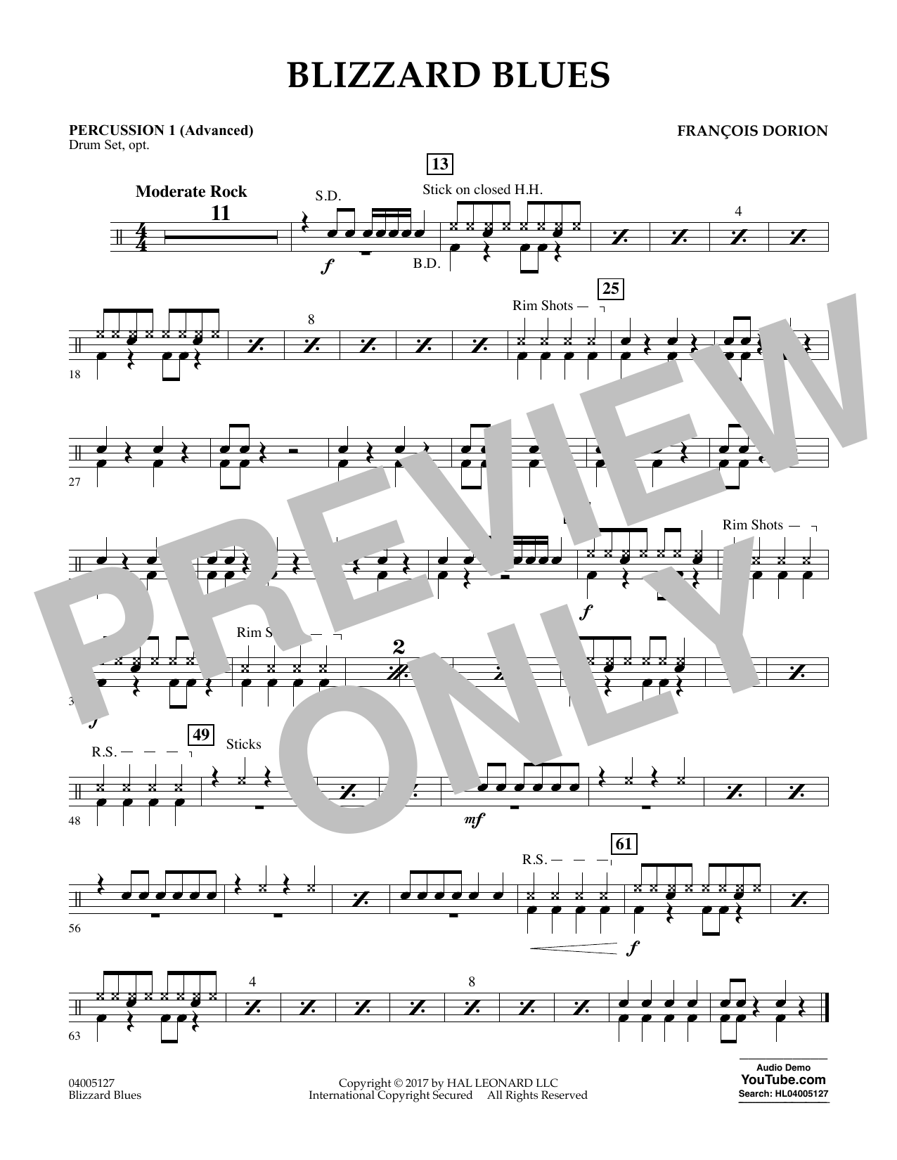 Francois Dorion Blizzard Blues - Percussion 1 (Advanced) sheet music notes and chords. Download Printable PDF.