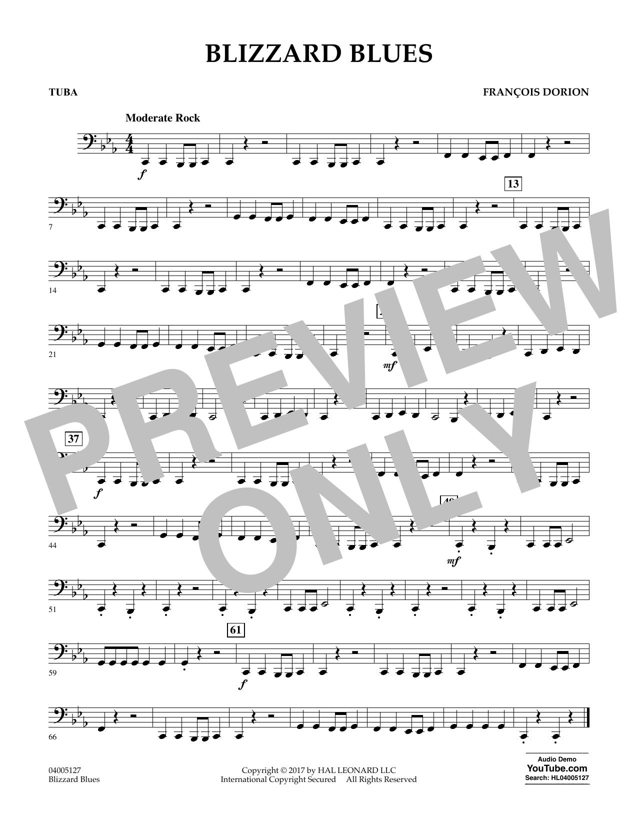 Francois Dorion Blizzard Blues - Tuba sheet music notes and chords. Download Printable PDF.