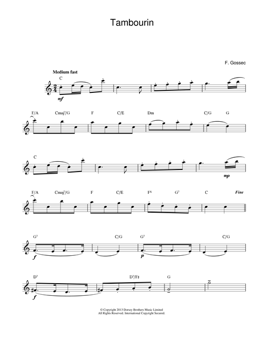 Francois Gossec Tambourin sheet music notes and chords. Download Printable PDF.