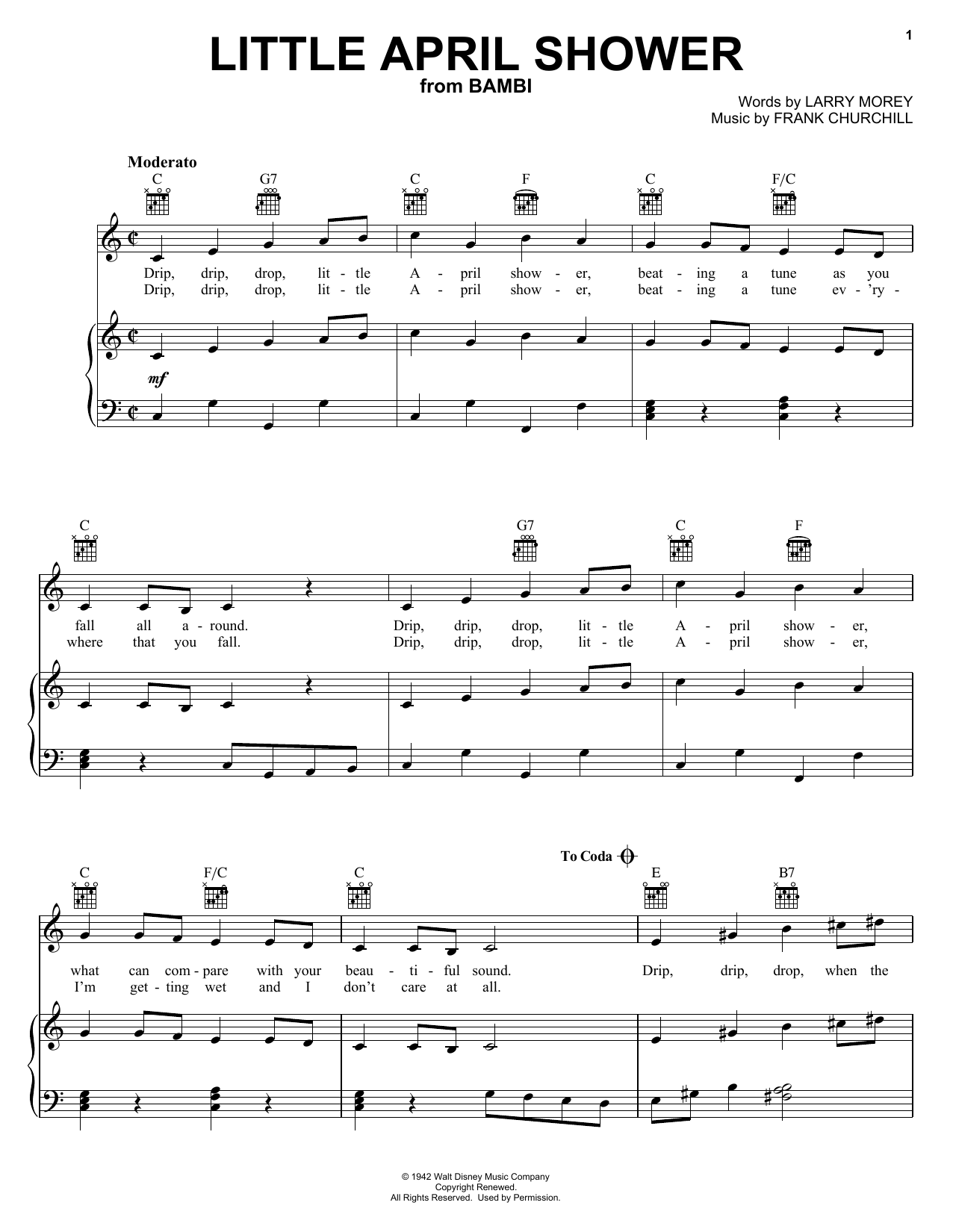 Frank Churchill Little April Shower sheet music notes and chords. Download Printable PDF.