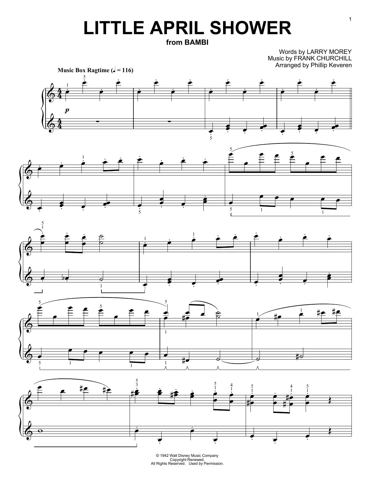 Frank Churchill Little April Shower [Ragtime version] (arr. Phillip Keveren) sheet music notes and chords. Download Printable PDF.
