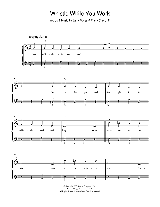 Frank Churchill Whistle While You Work (from Walt Disney's Snow White And The Seven Dwarfs) sheet music notes and chords. Download Printable PDF.