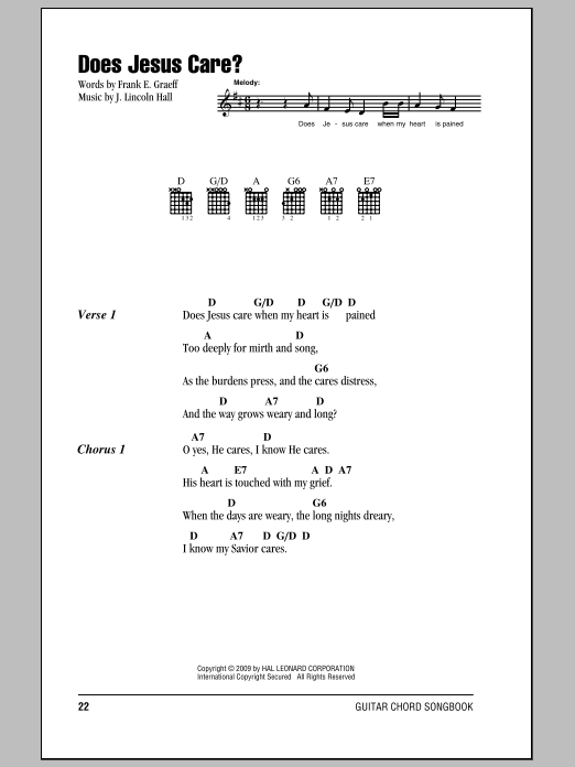 Frank E. Graeff Does Jesus Care? sheet music notes and chords. Download Printable PDF.