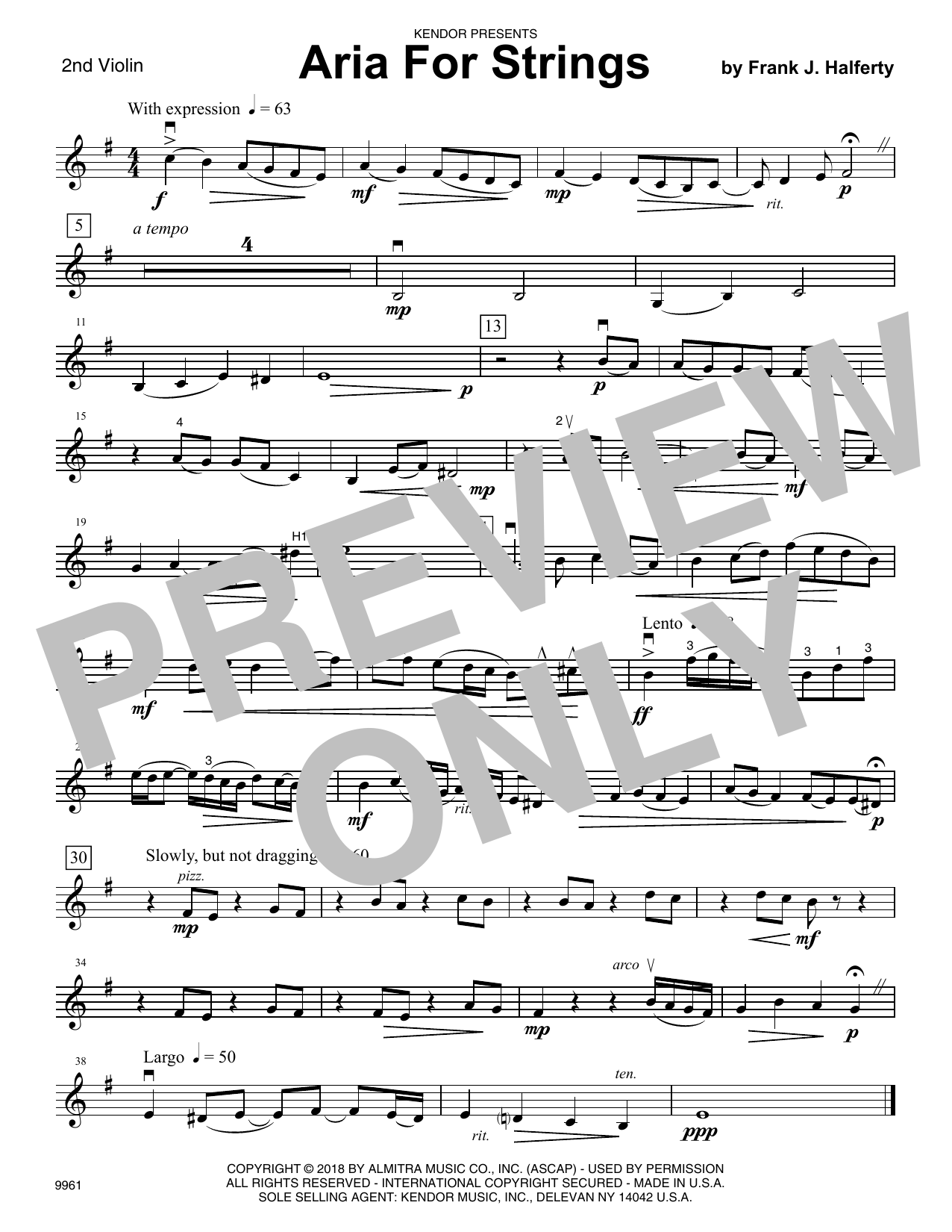 Frank J. Halferty Aria For Strings - 2nd Violin sheet music notes and chords. Download Printable PDF.