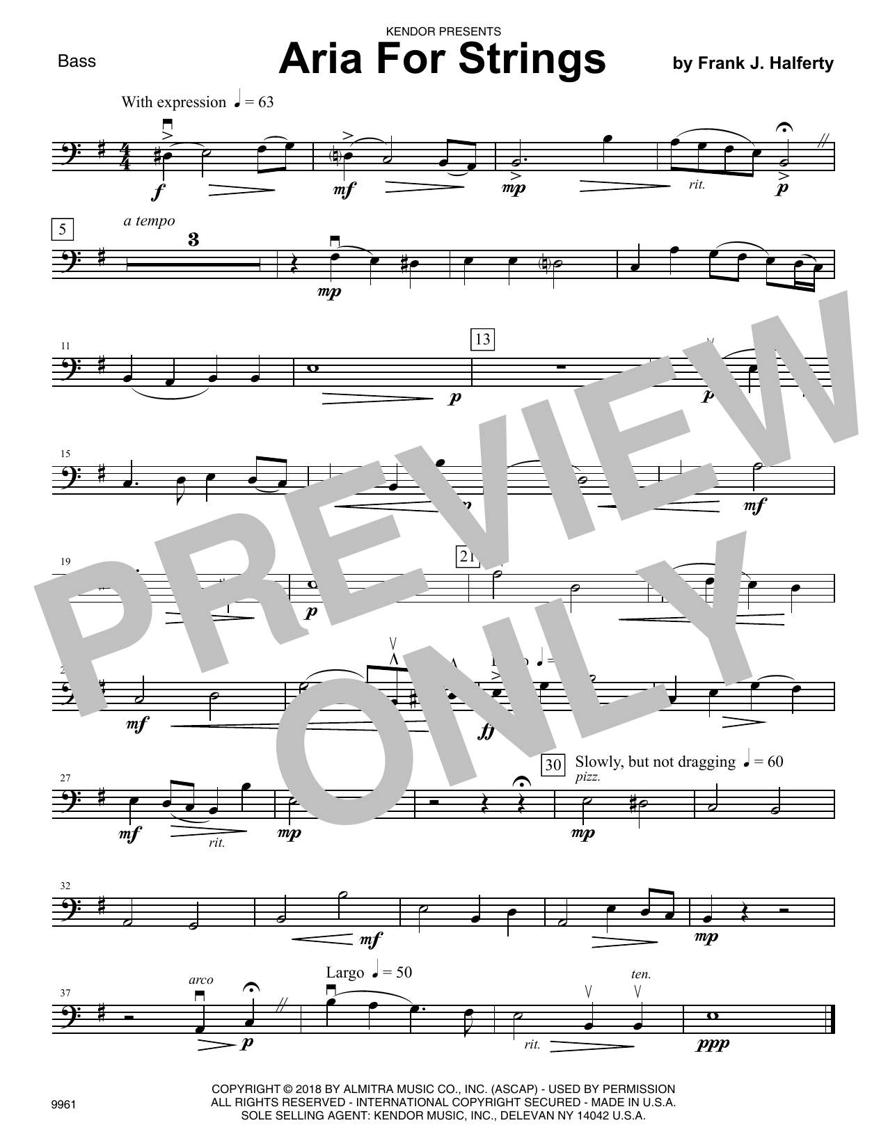 Frank J. Halferty Aria For Strings - Bass sheet music notes and chords. Download Printable PDF.