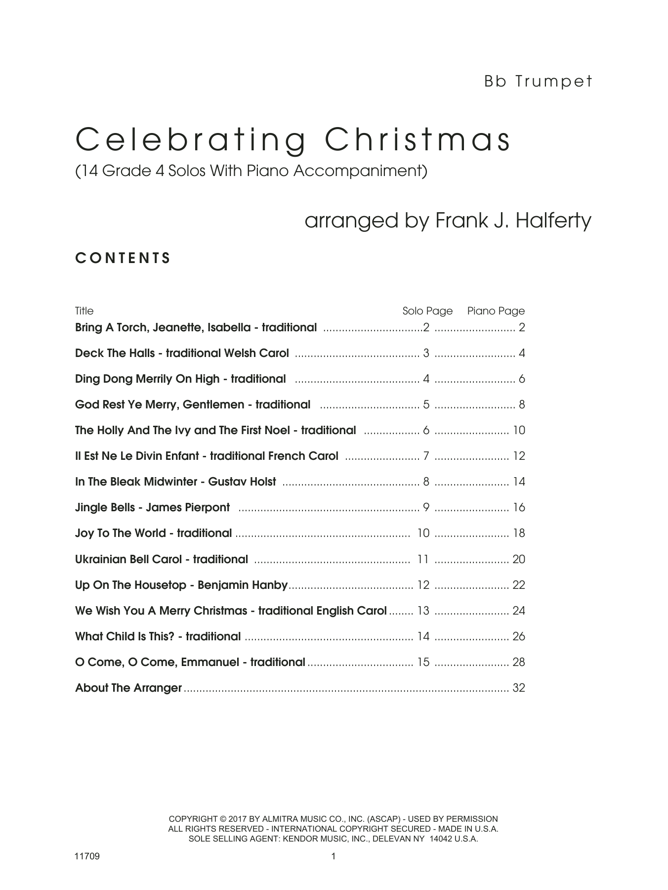 Frank J. Halferty Celebrating Christmas (14 Grade 4 Solos With Piano Accompaniment) - Bb Trumpet sheet music notes and chords. Download Printable PDF.