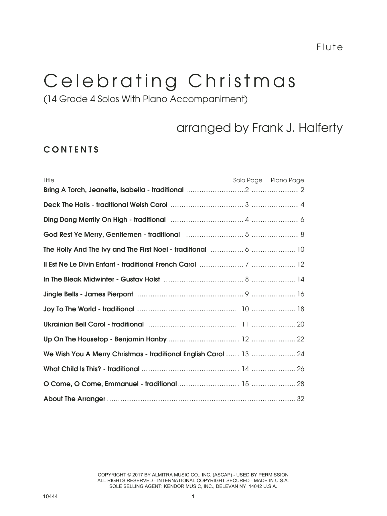 Frank J. Halferty Celebrating Christmas (14 Grade 4 Solos With Piano Accompaniment) - Flute sheet music notes and chords. Download Printable PDF.