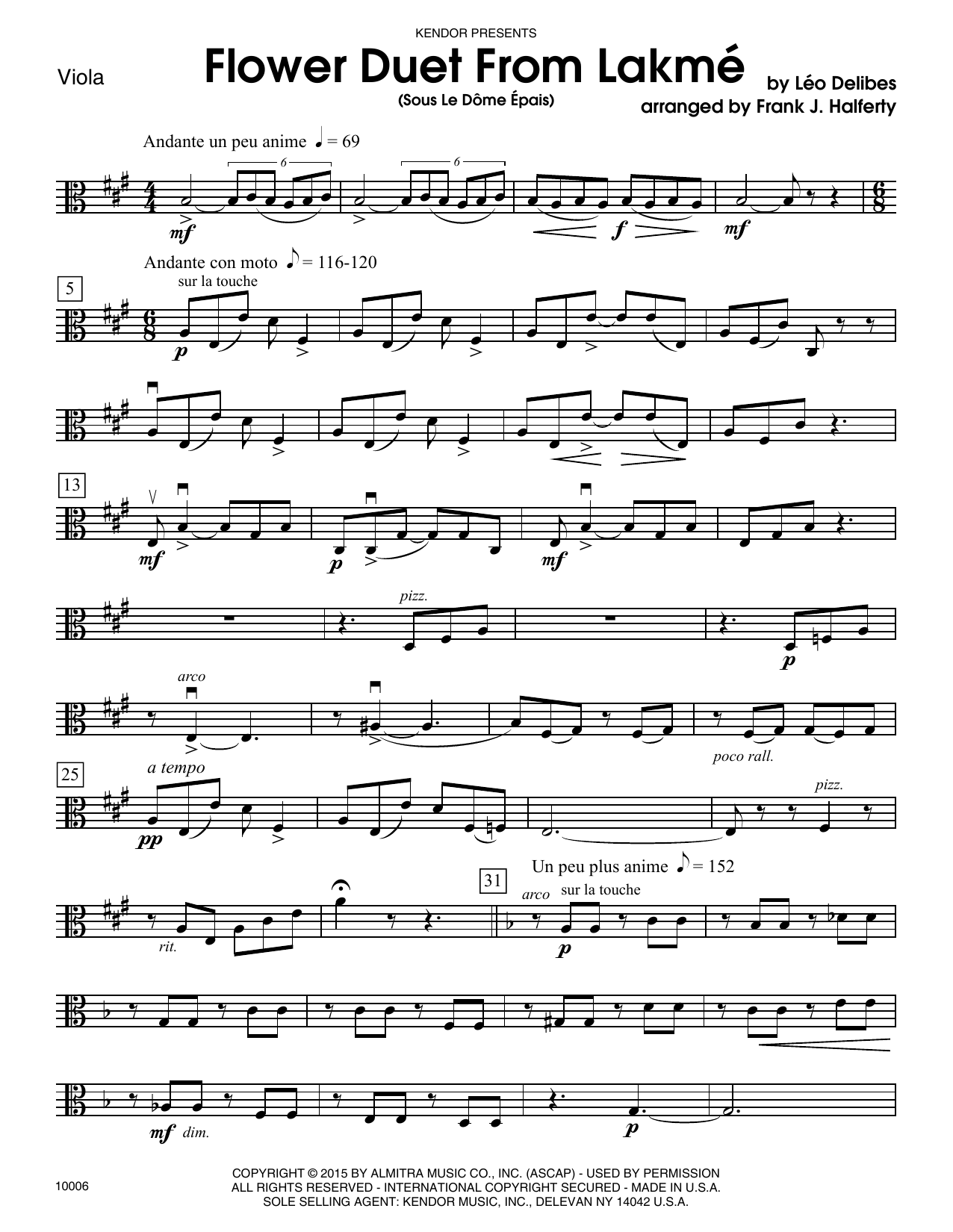 Frank J. Halferty Flower Duet From Lakme (Sous Le Dome Epais) - Viola sheet music notes and chords. Download Printable PDF.