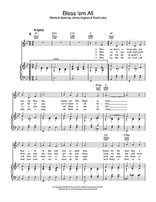 Frank Lake Bless 'Em All sheet music notes and chords. Download Printable PDF.