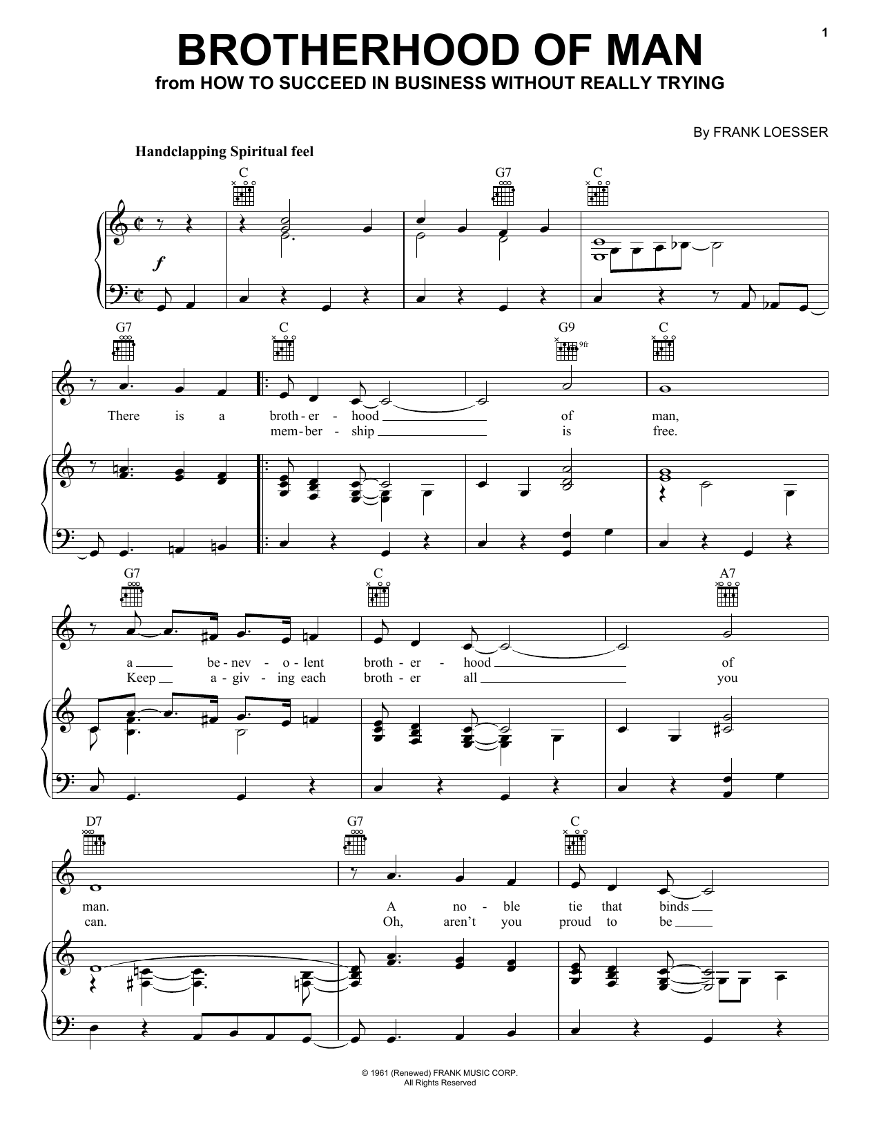 Frank Loesser Brotherhood Of Man sheet music notes and chords. Download Printable PDF.