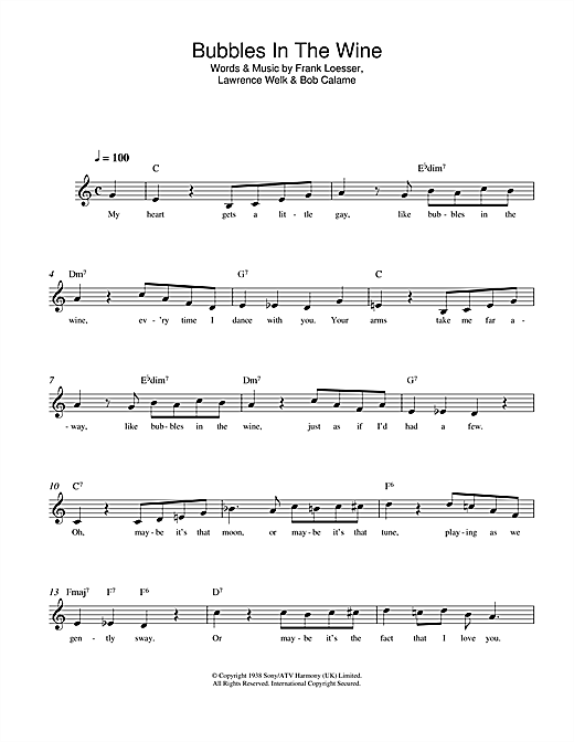 Frank Loesser Bubbles In The Wine sheet music notes and chords. Download Printable PDF.