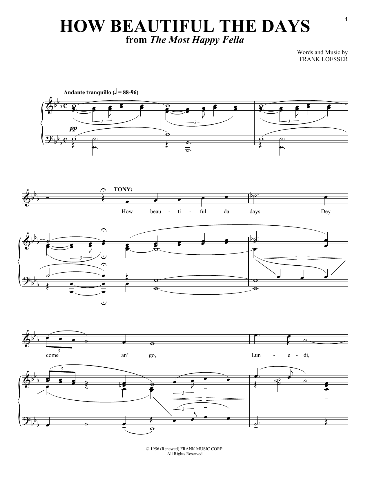 Frank Loesser How Beautiful The Days sheet music notes and chords. Download Printable PDF.