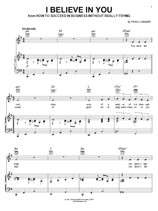 Frank Loesser I Believe In You sheet music notes and chords. Download Printable PDF.