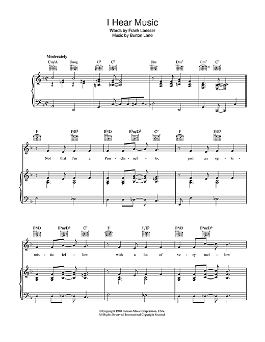 Frank Loesser I Hear Music sheet music notes and chords. Download Printable PDF.