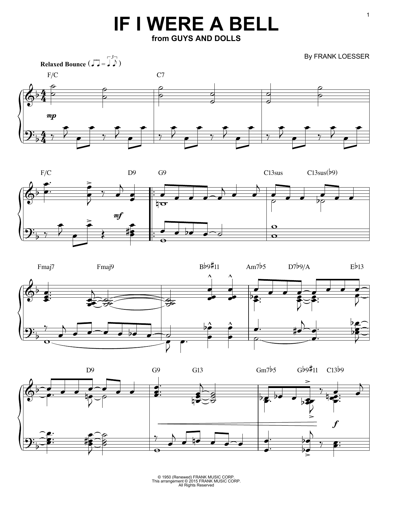 Frank Loesser If I Were A Bell [Jazz version] (arr. Brent Edstrom) sheet music notes and chords. Download Printable PDF.