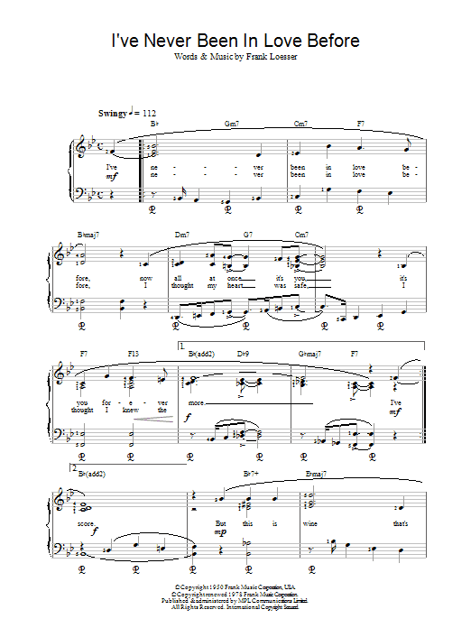Frank Loesser Ive Never Been In Love Before sheet music notes and chords. Download Printable PDF.