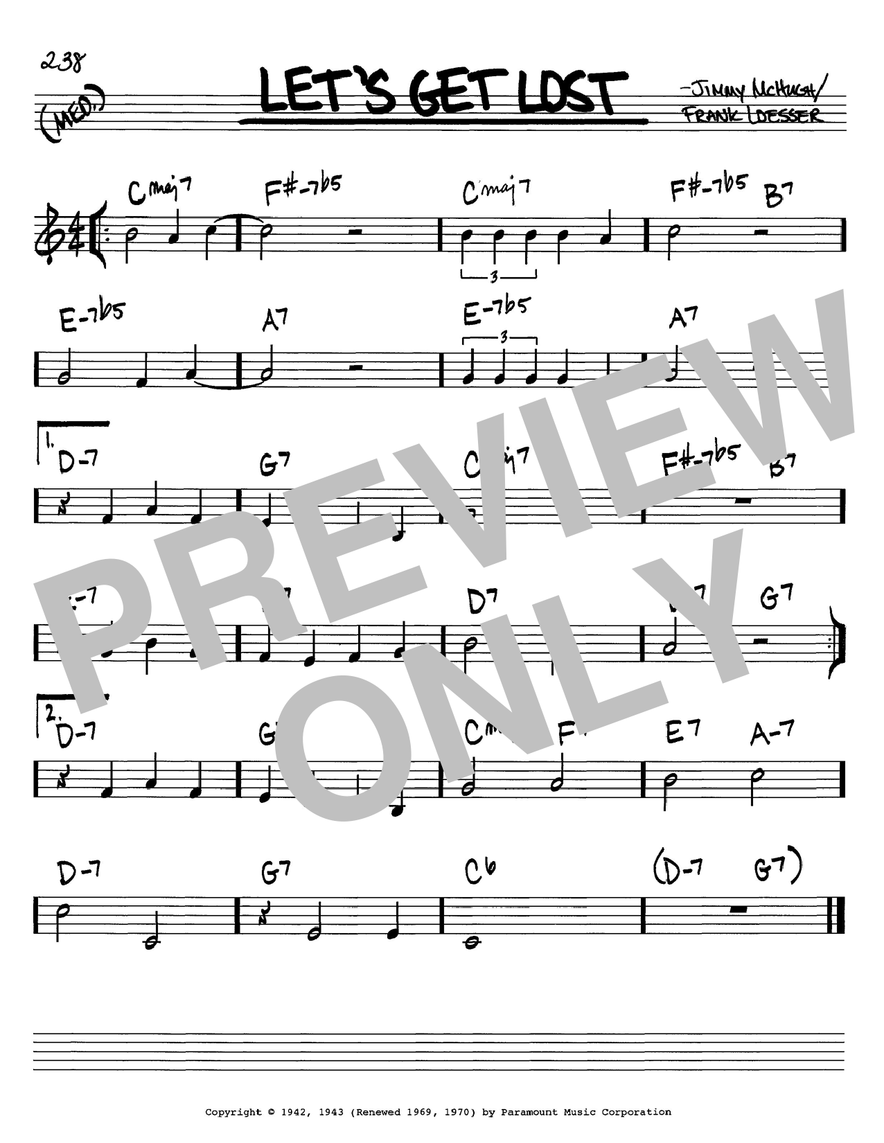 Frank Loesser Let's Get Lost sheet music notes and chords