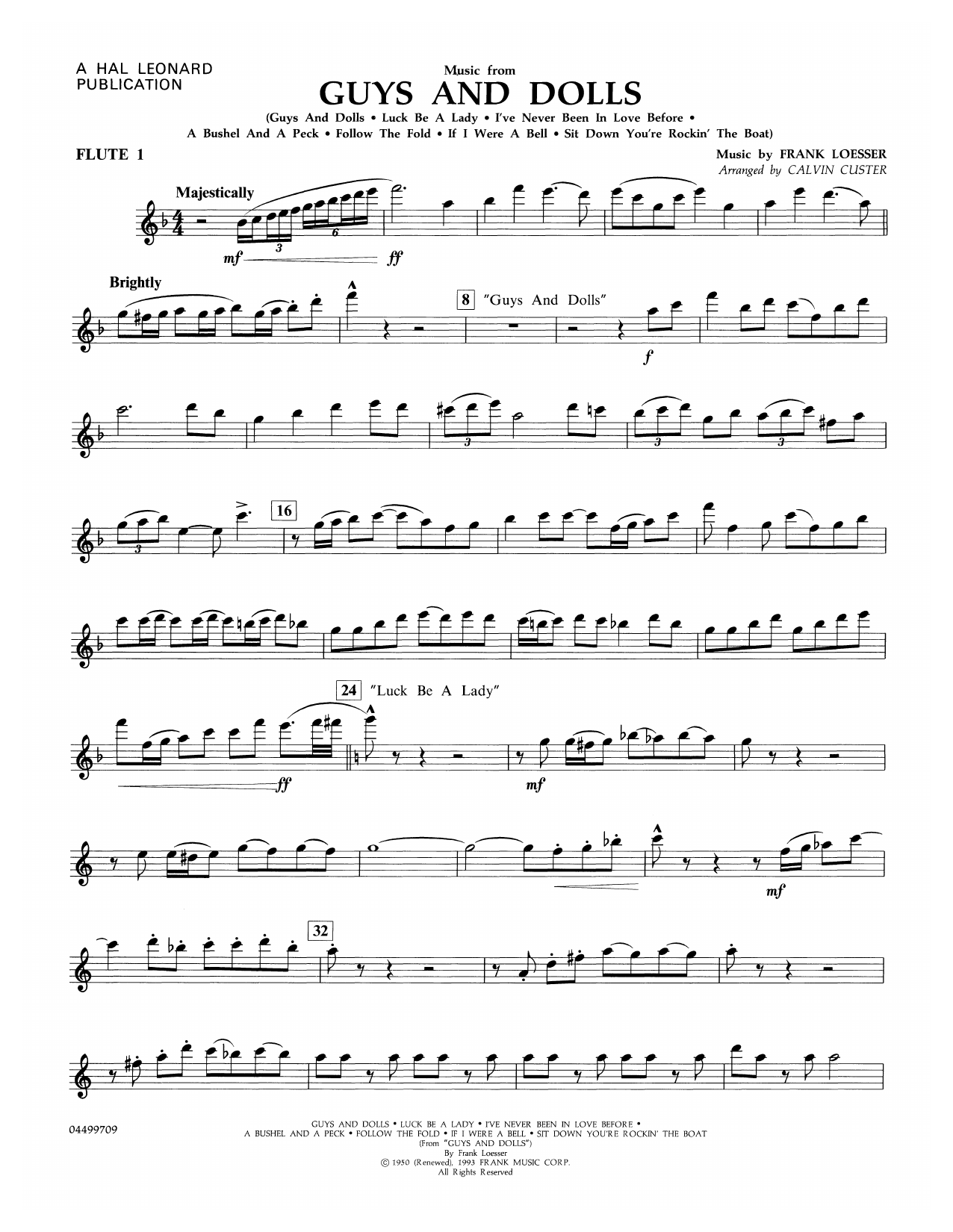 Frank Loesser Music from Guys and Dolls (arr. Calvin Custer) - Flute 1 sheet music notes and chords. Download Printable PDF.