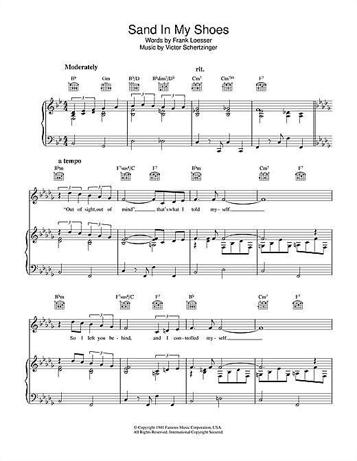 Frank Loesser Sand In My Shoes sheet music notes and chords. Download Printable PDF.