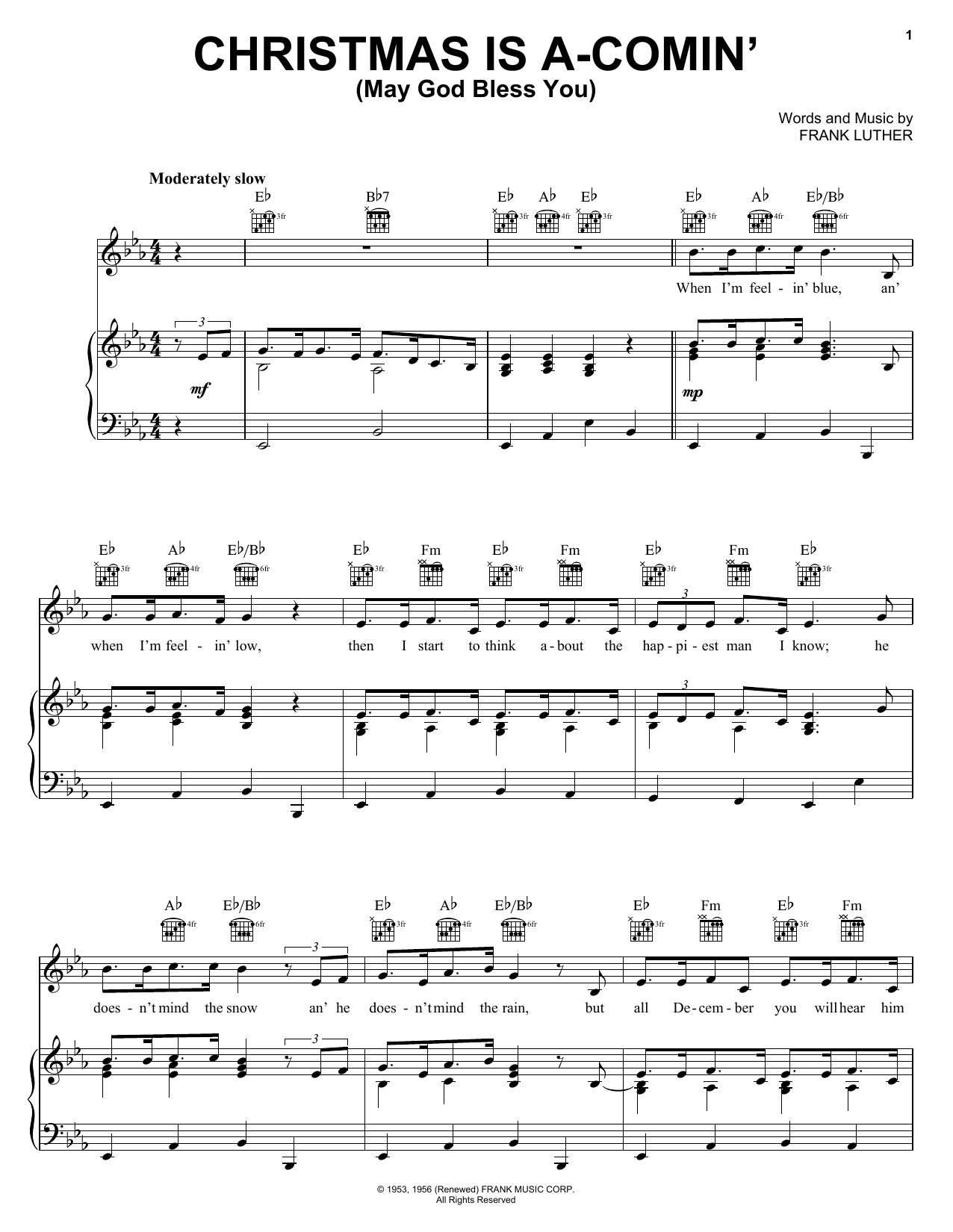 Frank Luther Christmas Is A-Comin' (May God Bless You) sheet music notes and chords. Download Printable PDF.