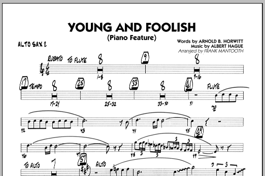 Frank Mantooth Young And Foolish - Alto Sax 2 sheet music notes and chords. Download Printable PDF.
