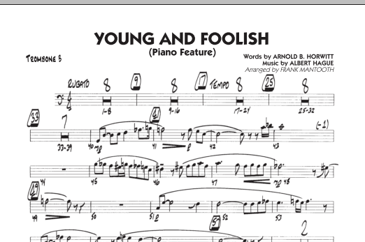 Frank Mantooth Young And Foolish - Trombone 3 sheet music notes and chords. Download Printable PDF.