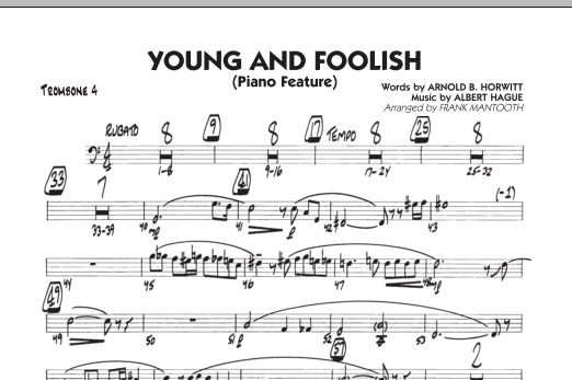 Frank Mantooth Young And Foolish - Trombone 4 sheet music notes and chords. Download Printable PDF.