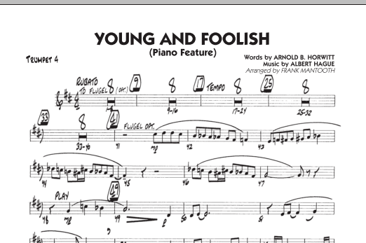 Frank Mantooth Young And Foolish - Trumpet 4 sheet music notes and chords. Download Printable PDF.