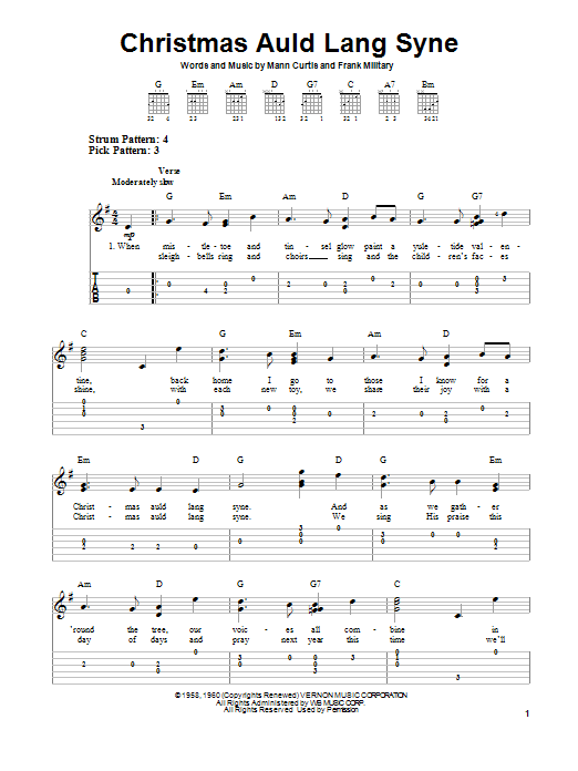 Frank Military Christmas Auld Lang Syne sheet music notes and chords. Download Printable PDF.