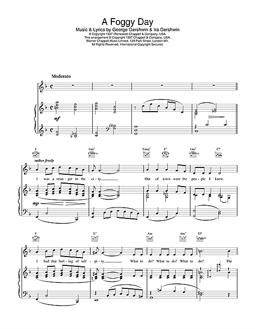 Frank Sinatra A Foggy Day sheet music notes and chords