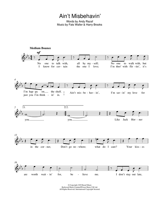 Frank Sinatra Ain't Misbehavin' sheet music notes and chords. Download Printable PDF.