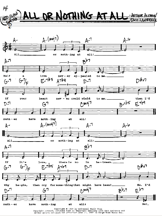 Frank Sinatra All Or Nothing At All sheet music notes and chords. Download Printable PDF.