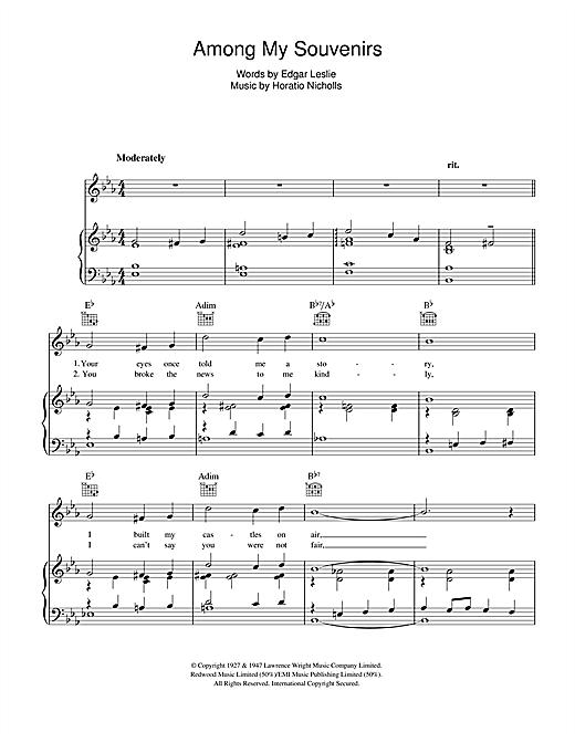Frank Sinatra Among My Souvenirs sheet music notes and chords. Download Printable PDF.