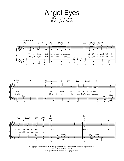 Frank Sinatra Angel Eyes sheet music notes and chords
