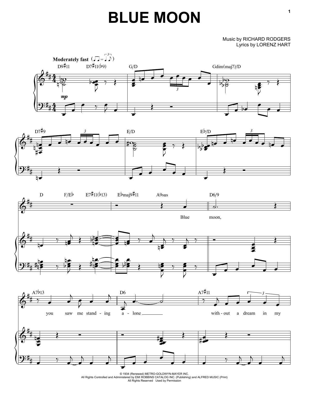 Frank Sinatra Blue Moon Sheet Music Notes, Chords   Download Printable E Z  Play Today PDF Score   SKU 15