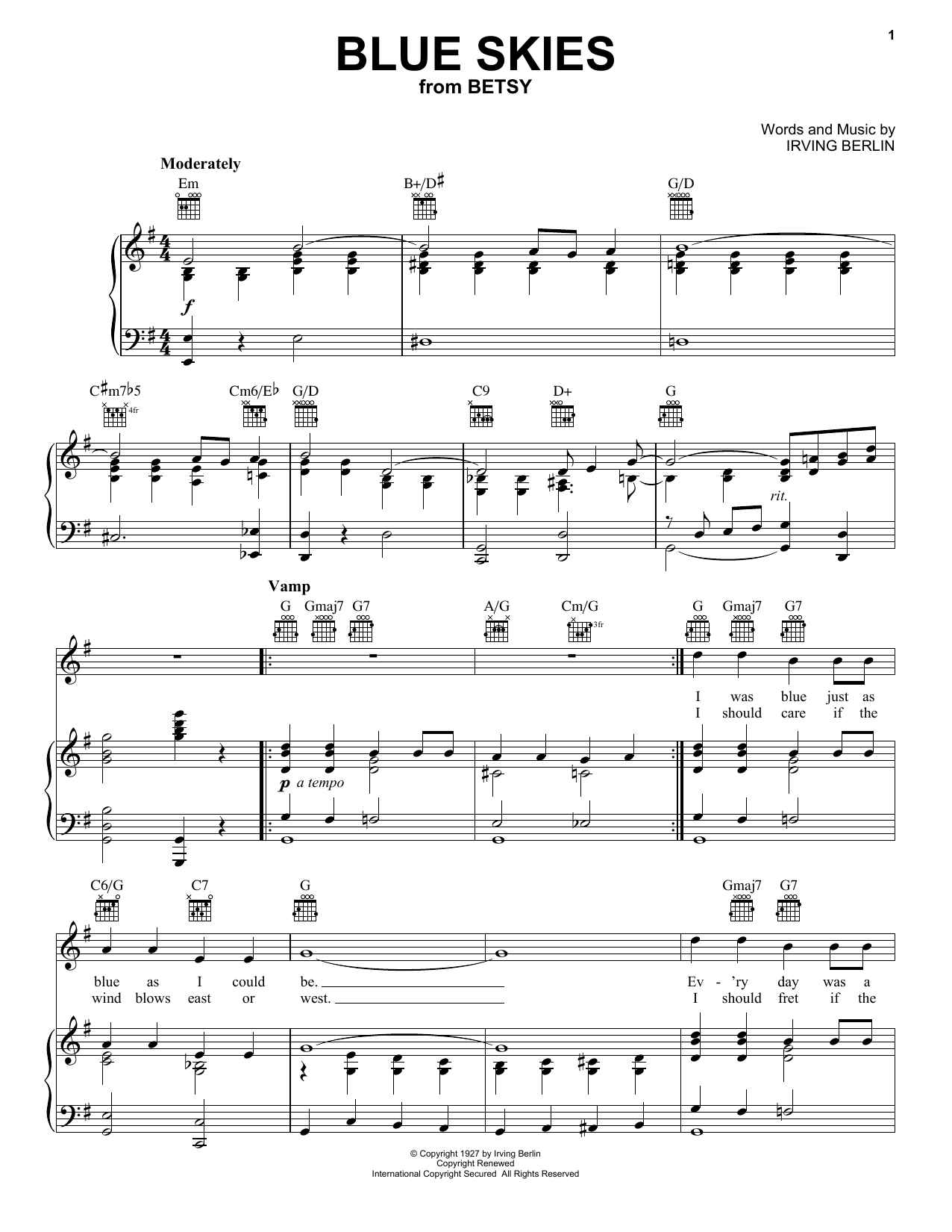 Frank Sinatra Blue Skies sheet music notes and chords. Download Printable PDF.