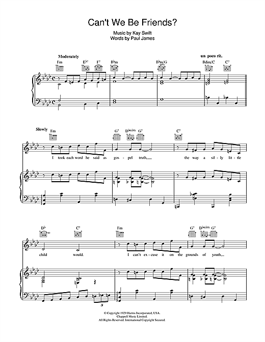 Frank Sinatra Can't We Be Friends sheet music notes and chords. Download Printable PDF.