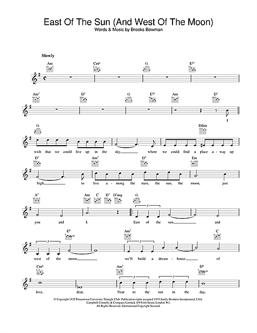 Frank Sinatra East Of The Sun (And West Of The Moon) sheet music notes and chords. Download Printable PDF.